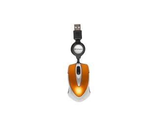 Mysz Verbatim Travel optyczna pomarańczowa zwijany kabel - MaxSklep
