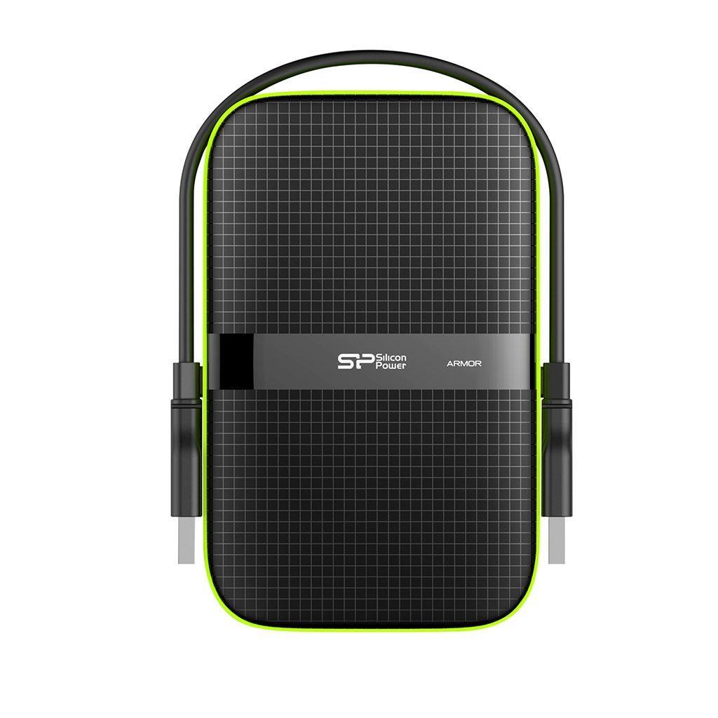 Dysk zewnętrzny Silicon Power ARMOR A60 5TB USB 3.0 BLACK-GREEN PANCERNY wstrząso pyło i wodoodporny IPX4
