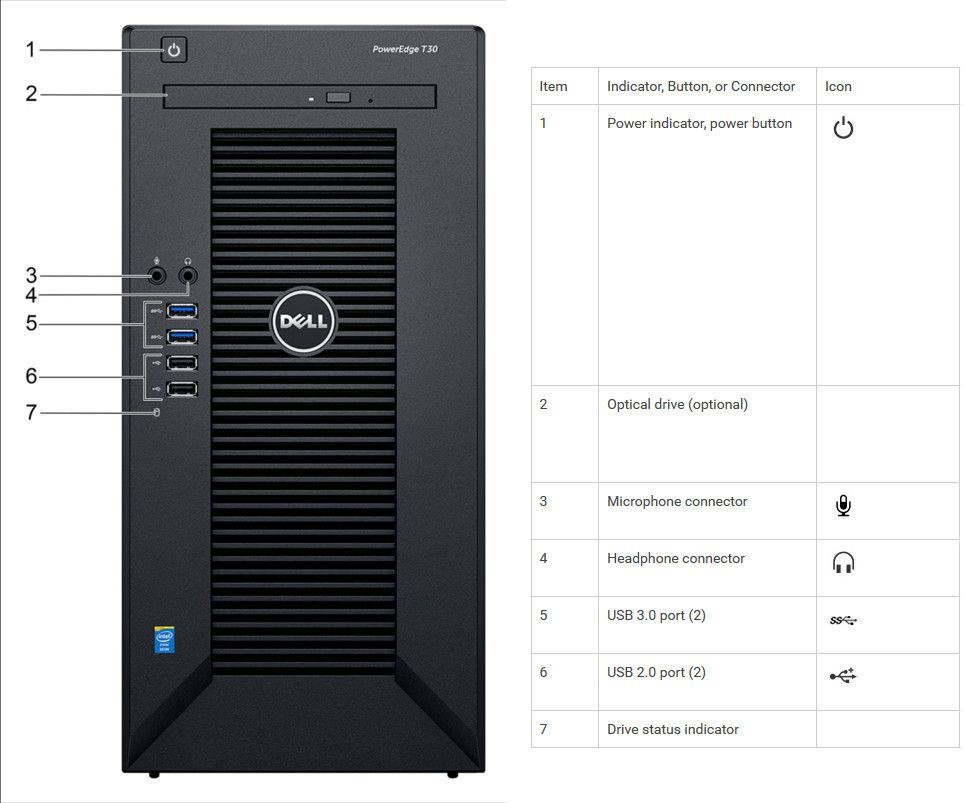 Serwer Dell PowerEdge T30 E3-1225v5 8GB 1TB DVD-RW 1Y NBD