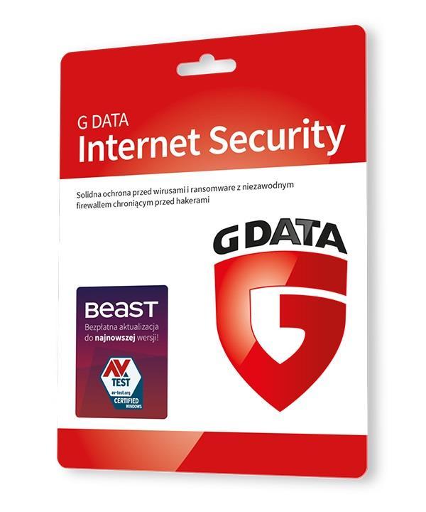 G DATA INTERNET SECURITY 3PC 1 ROK KARTA-KLUCZ