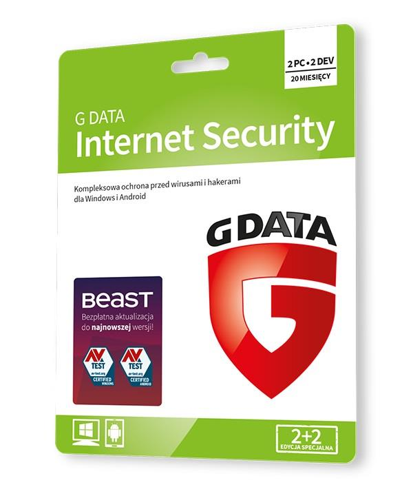 G DATA INTERNET SECURITY 2+2 20 M-CY KARTA-KLUCZ