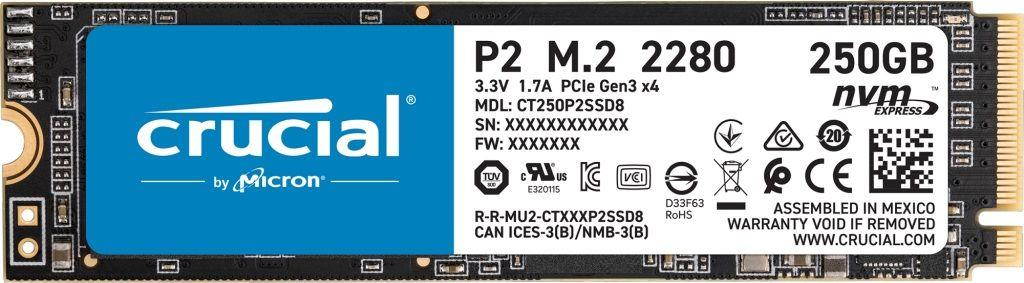 Dysk SSD Crucial P2 250GB M.2 PCIe NVMe 2280 (2100 1150MB s)