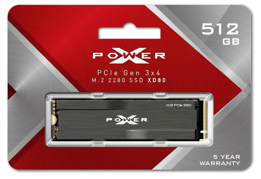 Dysk SSD Silicon Power XPOWER XD80 512GB PCIe Gen3x4 NVMe (3400 2300 MB s) 2280